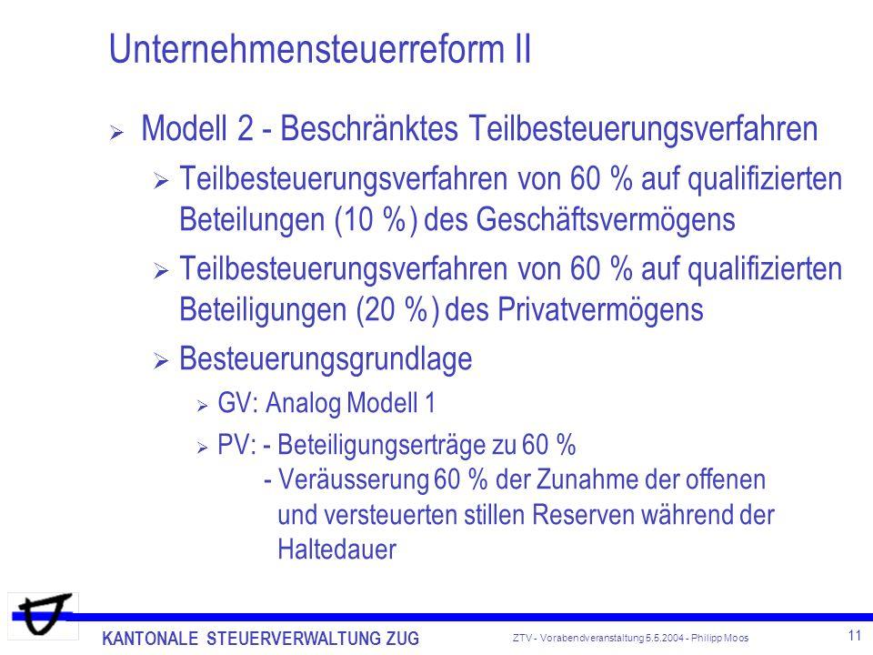 KANTONALE STEUERVERWALTUNG ZUG 11 ZTV - Vorabendveranstaltung 5.5.2004 - Philipp Moos Unternehmensteuerreform II Modell 2 - Beschränktes Teilbesteueru