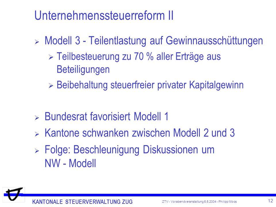 KANTONALE STEUERVERWALTUNG ZUG 12 ZTV - Vorabendveranstaltung 5.5.2004 - Philipp Moos Unternehmenssteuerreform II Modell 3 - Teilentlastung auf Gewinn