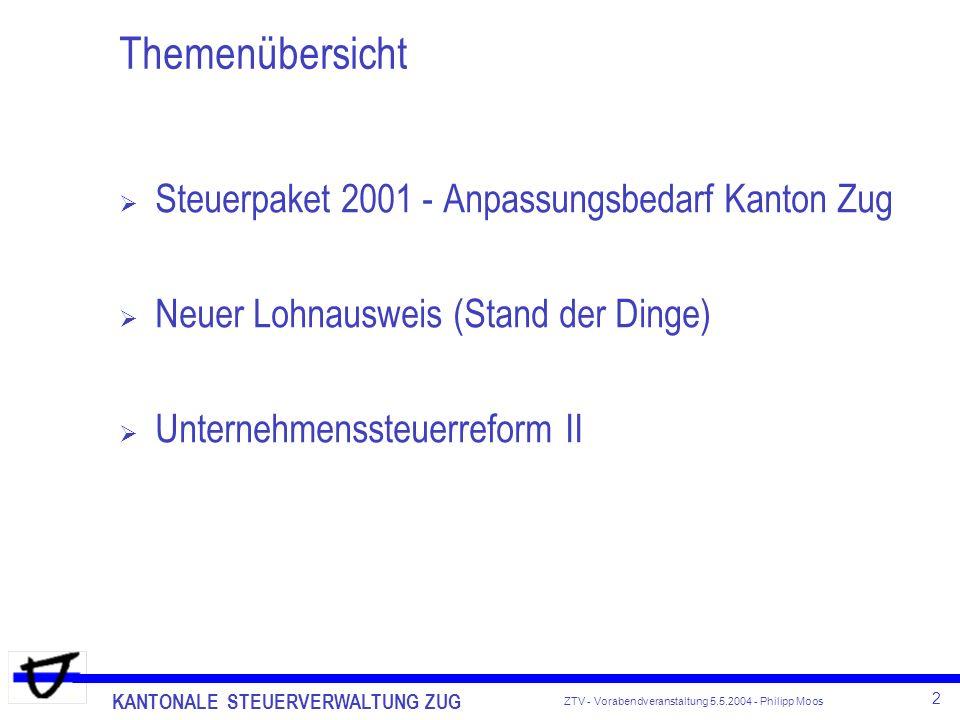 KANTONALE STEUERVERWALTUNG ZUG 2 ZTV - Vorabendveranstaltung 5.5.2004 - Philipp Moos Themenübersicht Steuerpaket 2001 - Anpassungsbedarf Kanton Zug Ne
