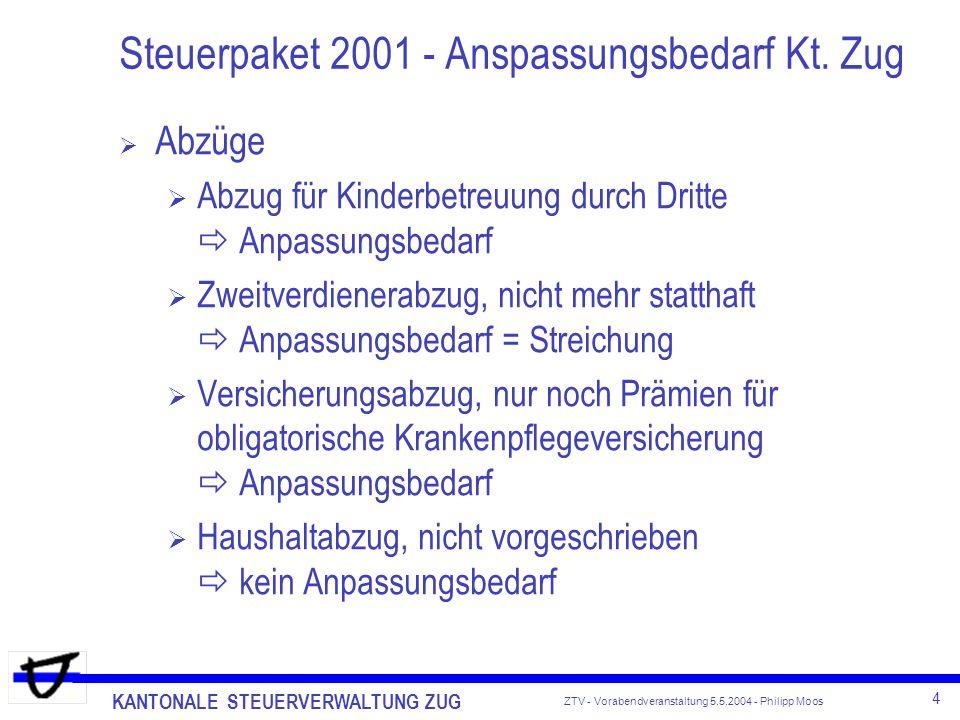 KANTONALE STEUERVERWALTUNG ZUG 4 ZTV - Vorabendveranstaltung 5.5.2004 - Philipp Moos Steuerpaket 2001 - Anspassungsbedarf Kt. Zug Abzüge Abzug für Kin