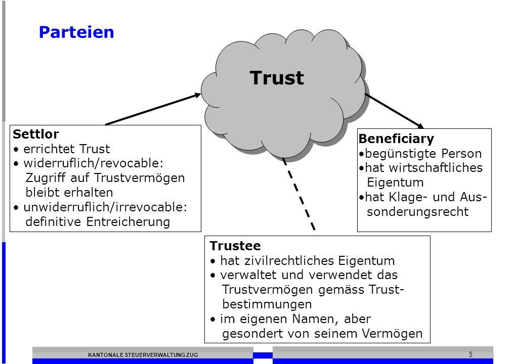 KANTONALE STEUERVERWALTUNG ZUG 5 Parteien Trust Settlor errichtet Trust widerruflich/revocable: Zugriff auf Trustvermögen bleibt erhalten unwiderruflich/irrevocable: definitive Entreicherung Beneficiary begünstigte Person hat wirtschaftliches Eigentum hat Klage- und Aus- sonderungsrecht Trustee hat zivilrechtliches Eigentum verwaltet und verwendet das Trustvermögen gemäss Trust- bestimmungen im eigenen Namen, aber gesondert von seinem Vermögen