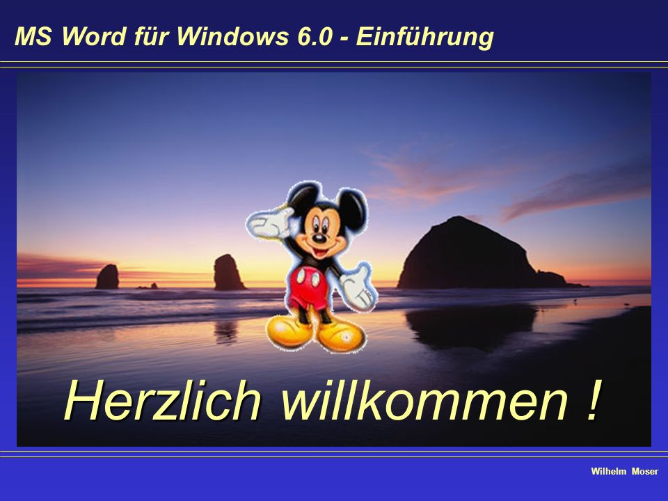 Wilhelm Moser MS Word für Windows 6.0 - Einführung Text bearbeiten - Datei öffnen - Mehrfachselektion Klicken Sie auf die erste Datei, halten Sie die Taste gedrückt und klicken Sie die letzte zu selektierende Datei an im Bereich werden alle ausgewählt Klicken Sie auf die erste Datei, halten Sie die Taste gedrückt und klicken Sie beliebige Dateien an alle selektierten Dateien werden markiert