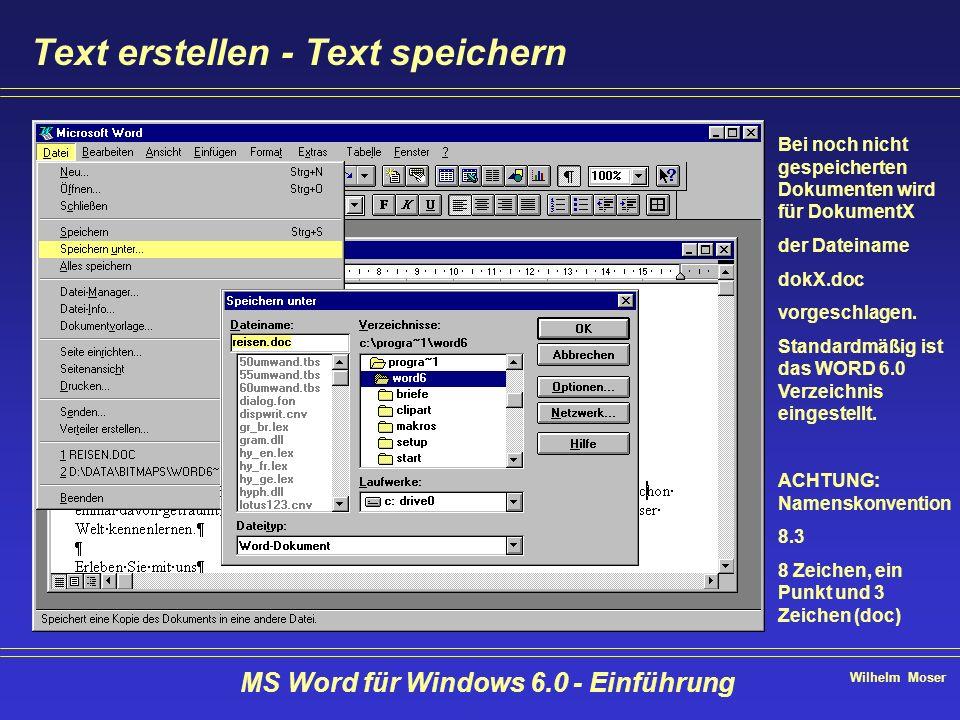 Wilhelm Moser MS Word für Windows 6.0 - Einführung Text erstellen - Text speichern Bei noch nicht gespeicherten Dokumenten wird für DokumentX der Date