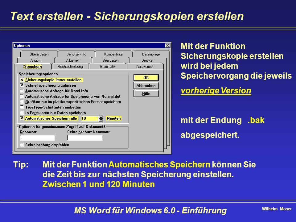 Wilhelm Moser MS Word für Windows 6.0 - Einführung Text erstellen - Sicherungskopien erstellen Mit der Funktion Sicherungskopie erstellen wird bei jed