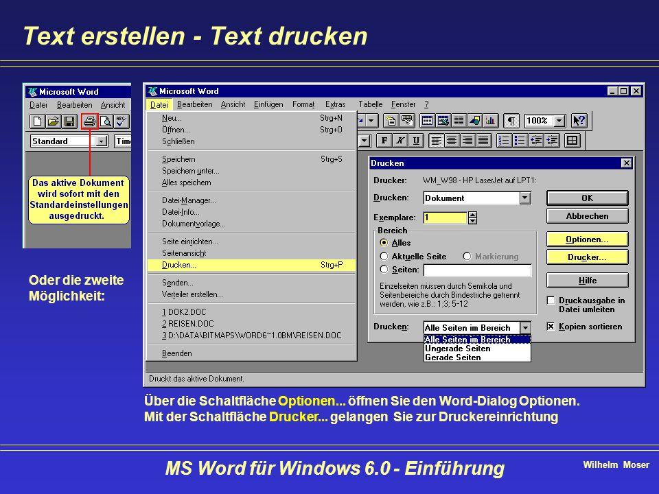 Wilhelm Moser MS Word für Windows 6.0 - Einführung Text erstellen - Text drucken Über die Schaltfläche Optionen... öffnen Sie den Word-Dialog Optionen