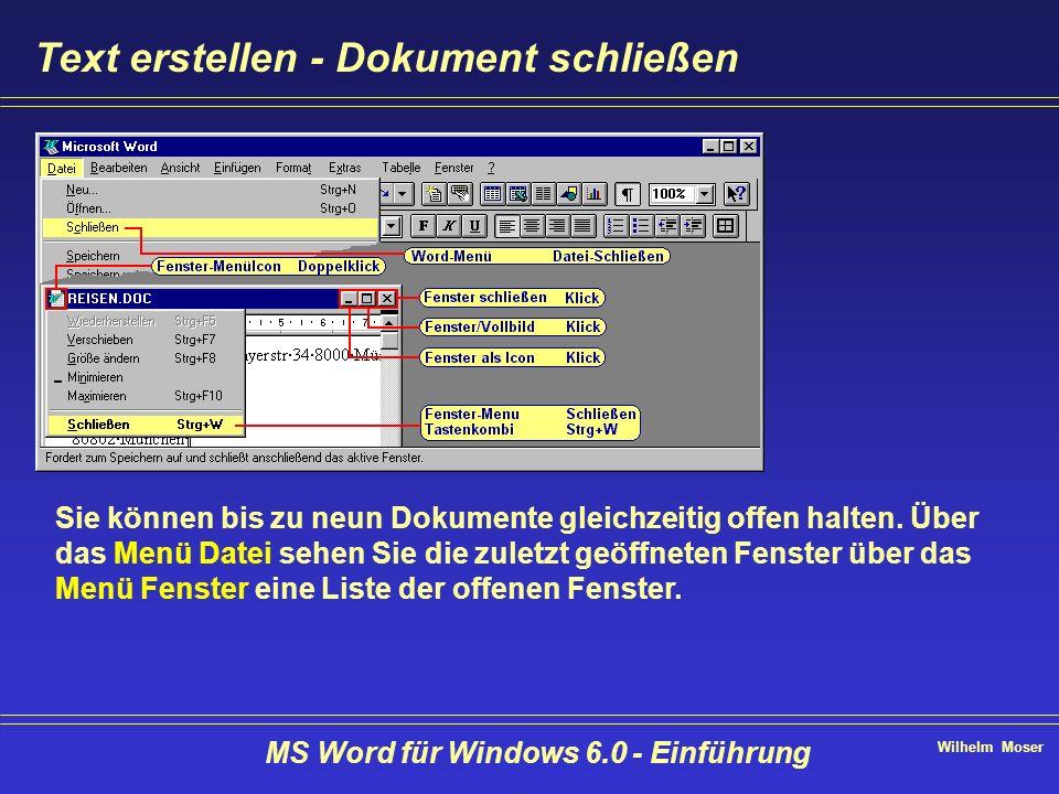 Wilhelm Moser MS Word für Windows 6.0 - Einführung Text erstellen - Dokument schließen Sie können bis zu neun Dokumente gleichzeitig offen halten. Übe