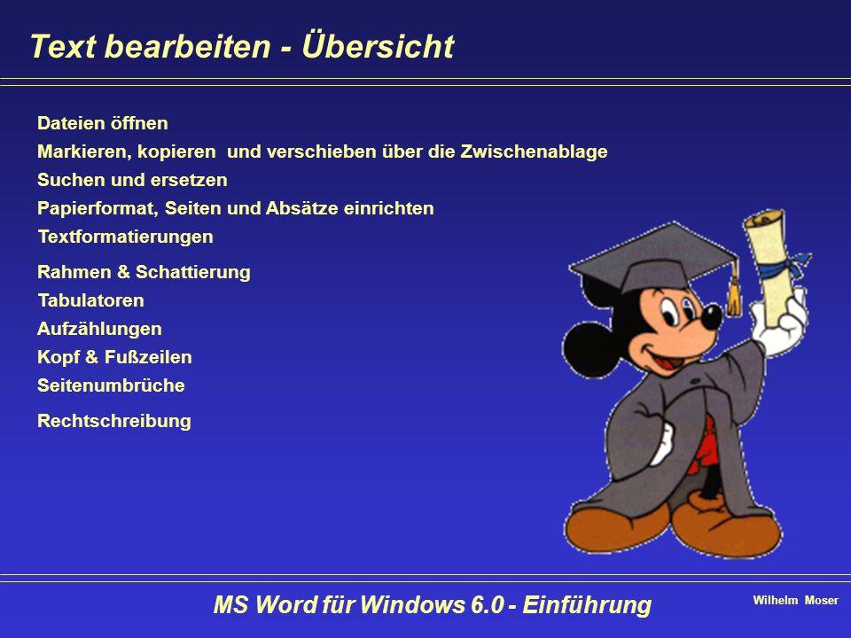 Wilhelm Moser MS Word für Windows 6.0 - Einführung Text bearbeiten - Übersicht Dateien öffnen Markieren, kopieren und verschieben über die Zwischenabl