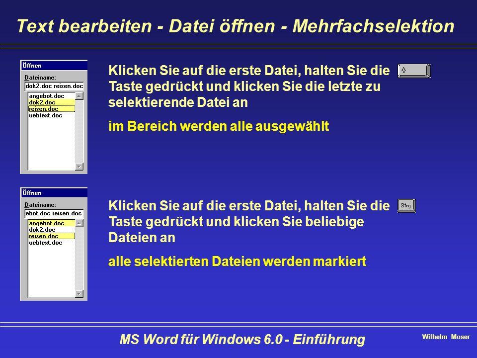 Wilhelm Moser MS Word für Windows 6.0 - Einführung Text bearbeiten - Datei öffnen - Mehrfachselektion Klicken Sie auf die erste Datei, halten Sie die