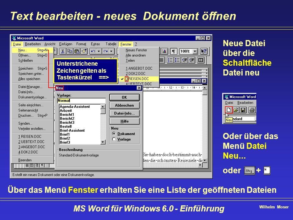 Wilhelm Moser MS Word für Windows 6.0 - Einführung Text bearbeiten - neues Dokument öffnen Über das Menü Fenster erhalten Sie eine Liste der geöffnete
