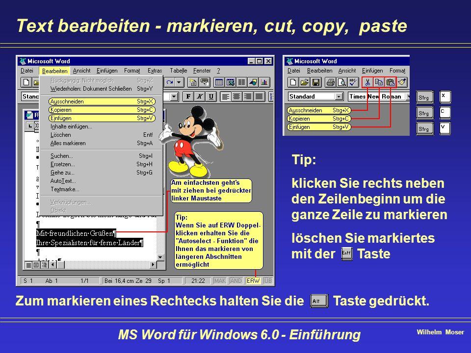 Wilhelm Moser MS Word für Windows 6.0 - Einführung Text bearbeiten - markieren, cut, copy, paste Tip: klicken Sie rechts neben den Zeilenbeginn um die