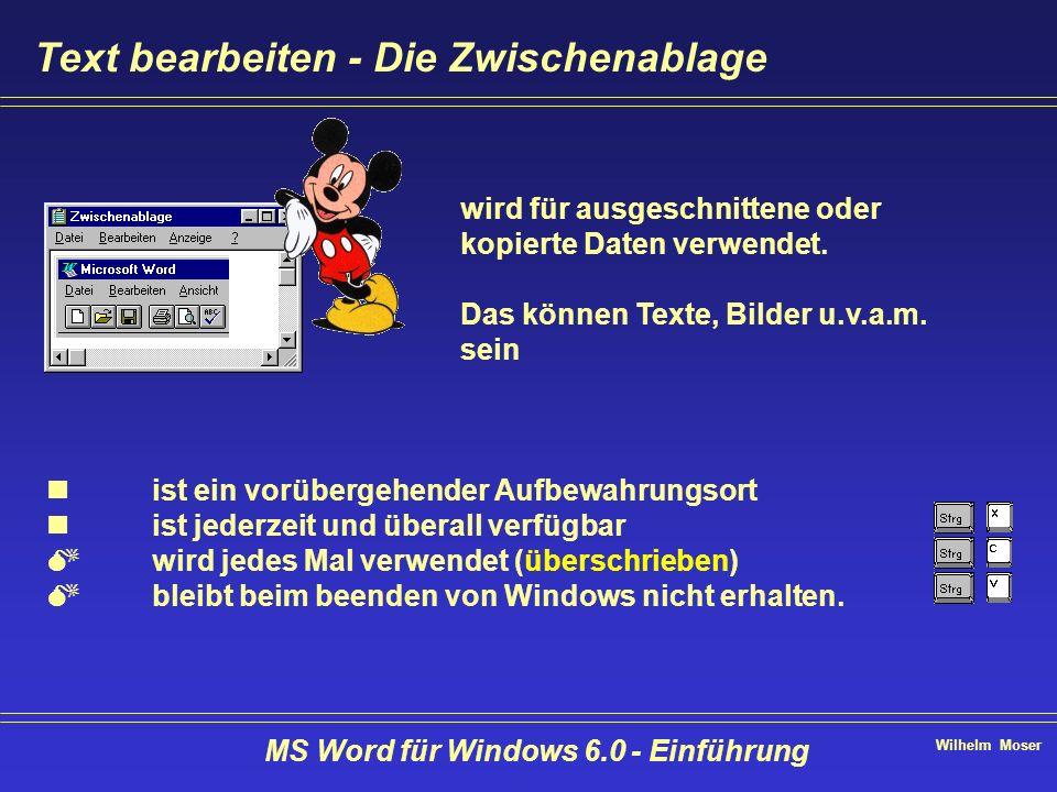 Wilhelm Moser MS Word für Windows 6.0 - Einführung Text bearbeiten - Die Zwischenablage ist ein vorübergehender Aufbewahrungsort ist jederzeit und übe