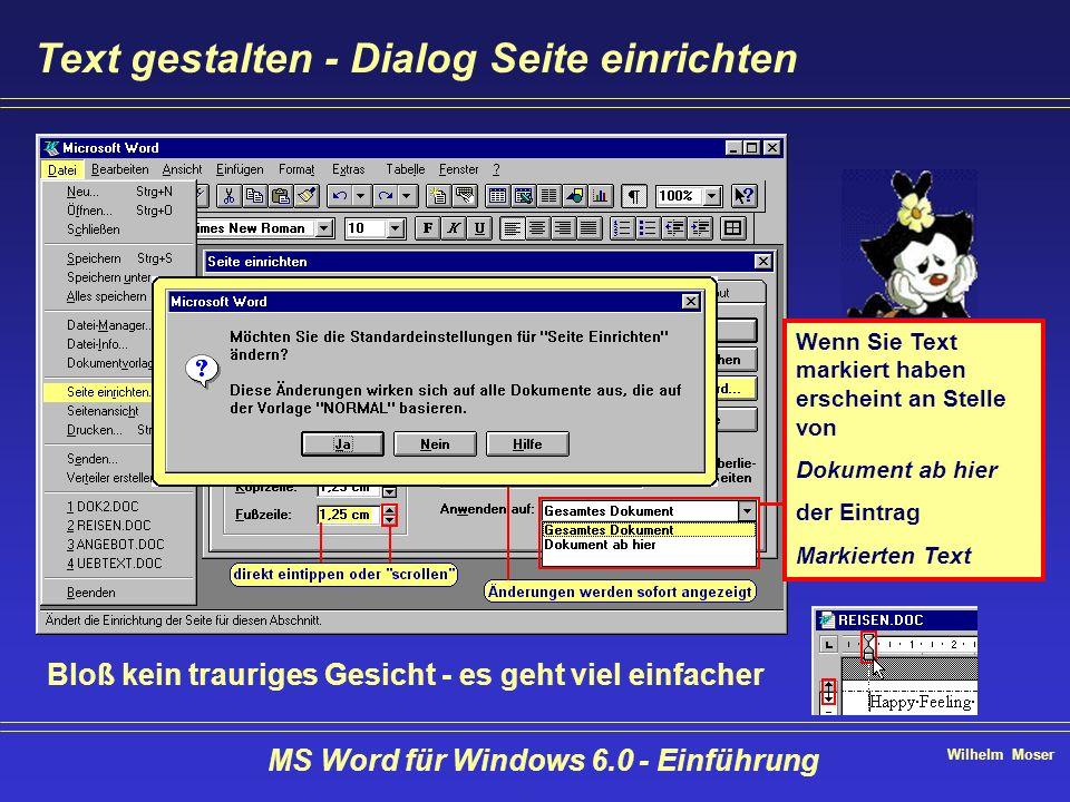 Wilhelm Moser MS Word für Windows 6.0 - Einführung Text gestalten - Dialog Seite einrichten Wenn Sie Text markiert haben erscheint an Stelle von Dokum