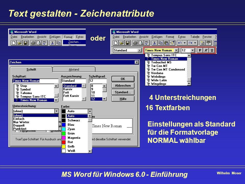 Wilhelm Moser MS Word für Windows 6.0 - Einführung Text gestalten - Zeichenattribute oder 4 Unterstreichungen 16 Textfarben Einstellungen als Standard
