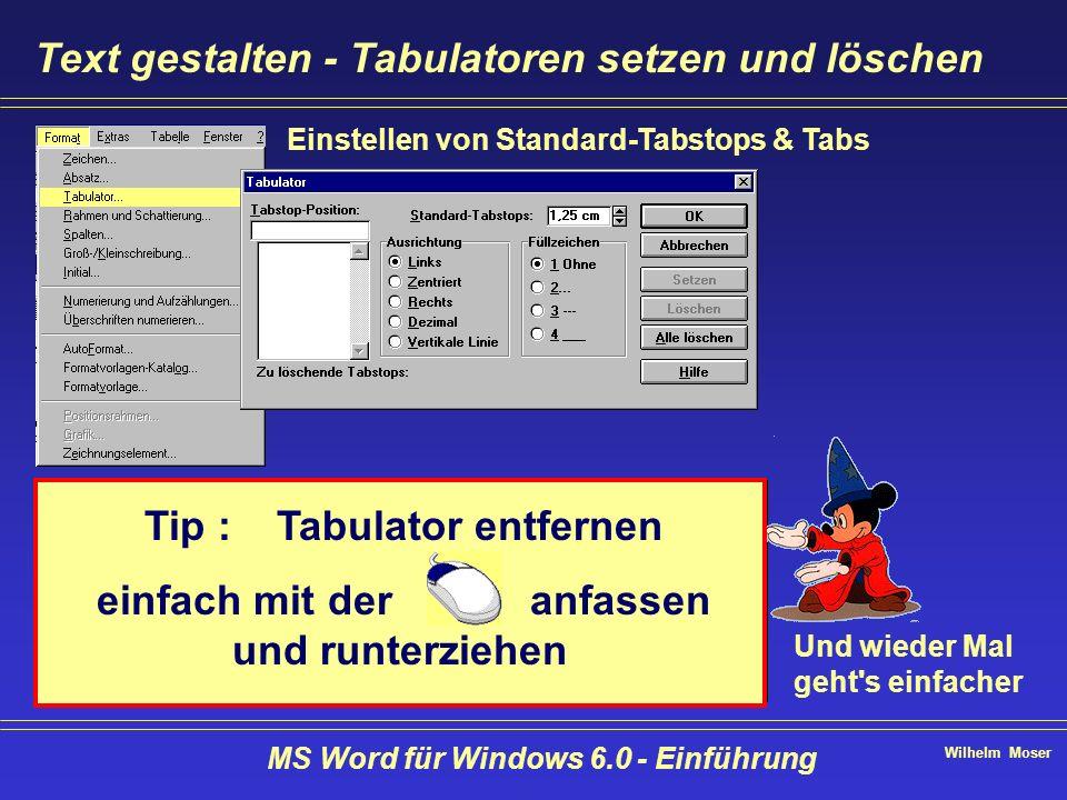 Wilhelm Moser MS Word für Windows 6.0 - Einführung Text gestalten - Tabulatoren setzen und löschen Einstellen von Standard-Tabstops & Tabs Und wieder