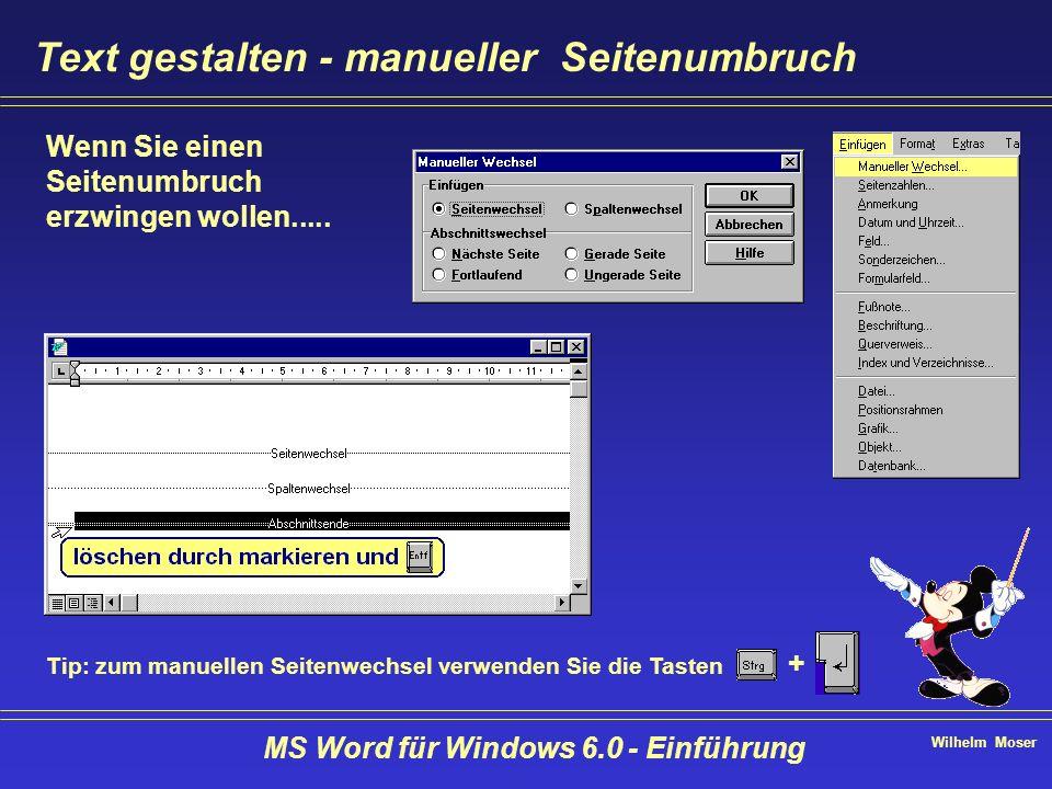 Wilhelm Moser MS Word für Windows 6.0 - Einführung Text gestalten - manueller Seitenumbruch Wenn Sie einen Seitenumbruch erzwingen wollen..... Tip: zu