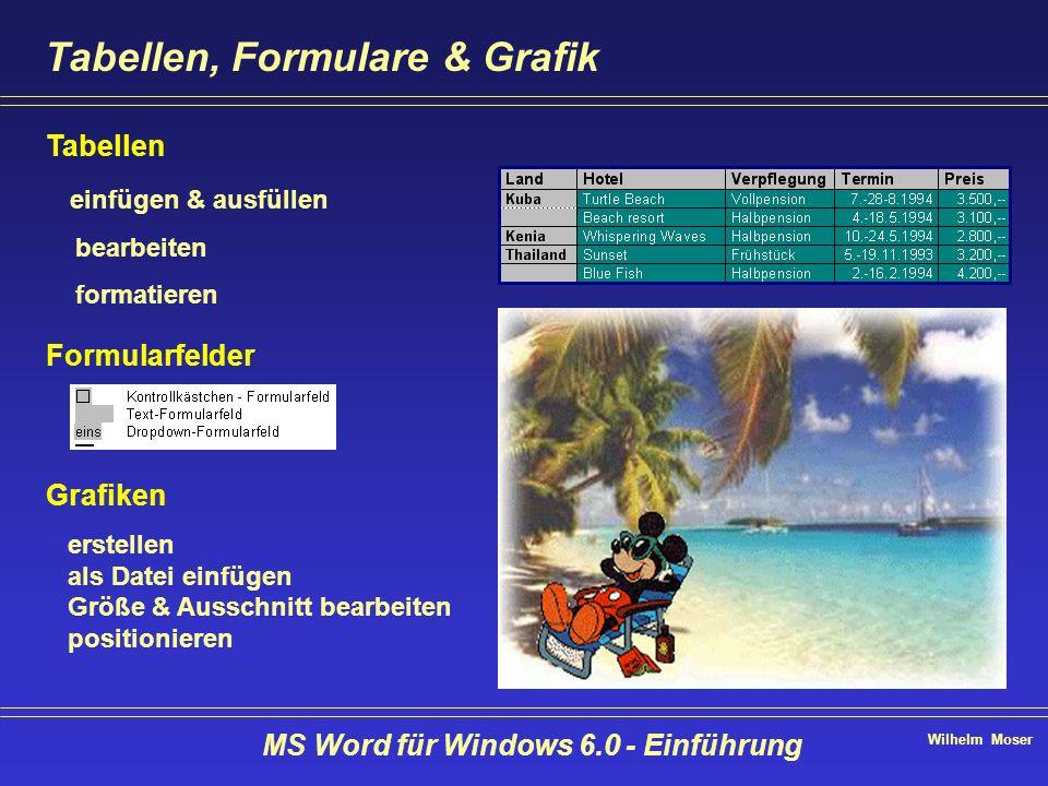 Wilhelm Moser MS Word für Windows 6.0 - Einführung Tabellen, Formulare & Grafik Tabellen einfügen & ausfüllen bearbeiten formatieren Formularfelder Gr