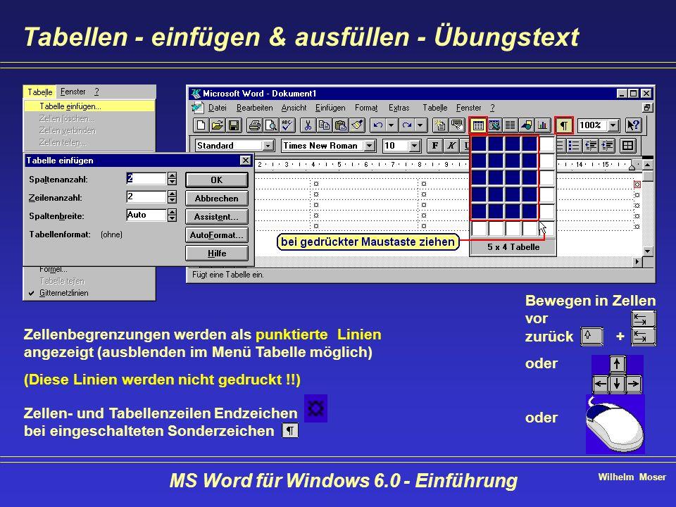Wilhelm Moser MS Word für Windows 6.0 - Einführung Tabellen - einfügen & ausfüllen - Übungstext Zellenbegrenzungen werden als punktierte Linien angeze