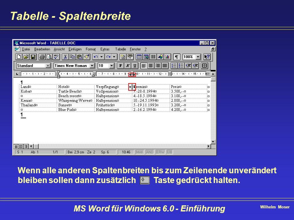 Wilhelm Moser MS Word für Windows 6.0 - Einführung Tabelle - Spaltenbreite Wenn alle anderen Spaltenbreiten bis zum Zeilenende unverändert bleiben sol