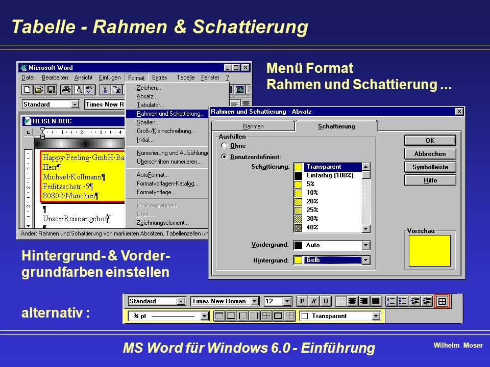 Wilhelm Moser MS Word für Windows 6.0 - Einführung Tabelle - Rahmen & Schattierung Menü Format Rahmen und Schattierung... Hintergrund- & Vorder- grund