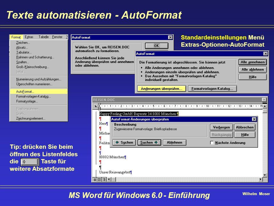 Wilhelm Moser MS Word für Windows 6.0 - Einführung Texte automatisieren - AutoFormat Tip: drücken Sie beim öffnen des Listenfeldes die Taste für weite