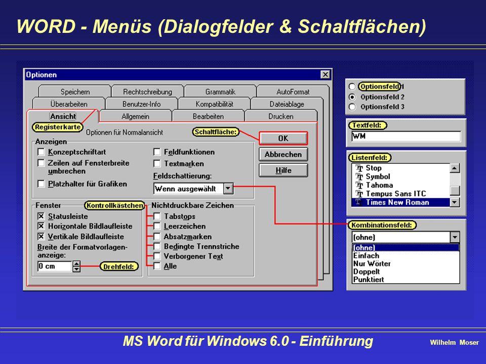 Wilhelm Moser MS Word für Windows 6.0 - Einführung Text gestalten - Kopf- & Fußzeilen einrichten Kopf & Fußzeilen gelten zunächst für das ganze Dokument unterdrücken auf der ersten Seite erste Seite anders gerade & ungerade Seiten anders für einzelne Kapitel anders ist möglich.