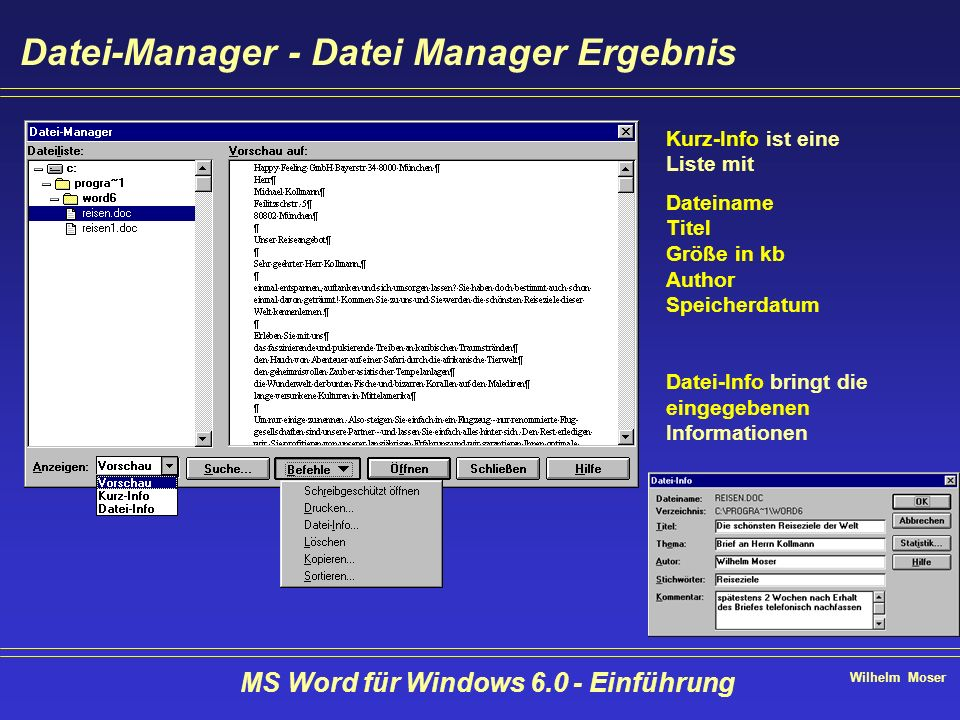 Wilhelm Moser MS Word für Windows 6.0 - Einführung Datei-Manager - Datei Manager Ergebnis Kurz-Info ist eine Liste mit Dateiname Titel Größe in kb Aut