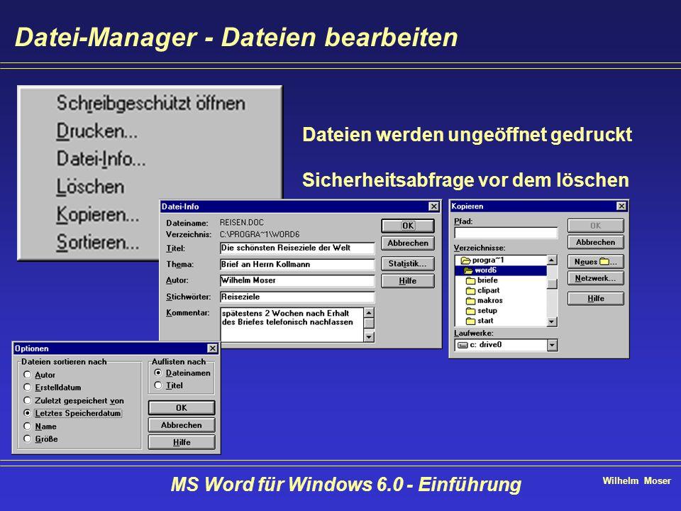 Wilhelm Moser MS Word für Windows 6.0 - Einführung Datei-Manager - Dateien bearbeiten Dateien werden ungeöffnet gedruckt Sicherheitsabfrage vor dem lö