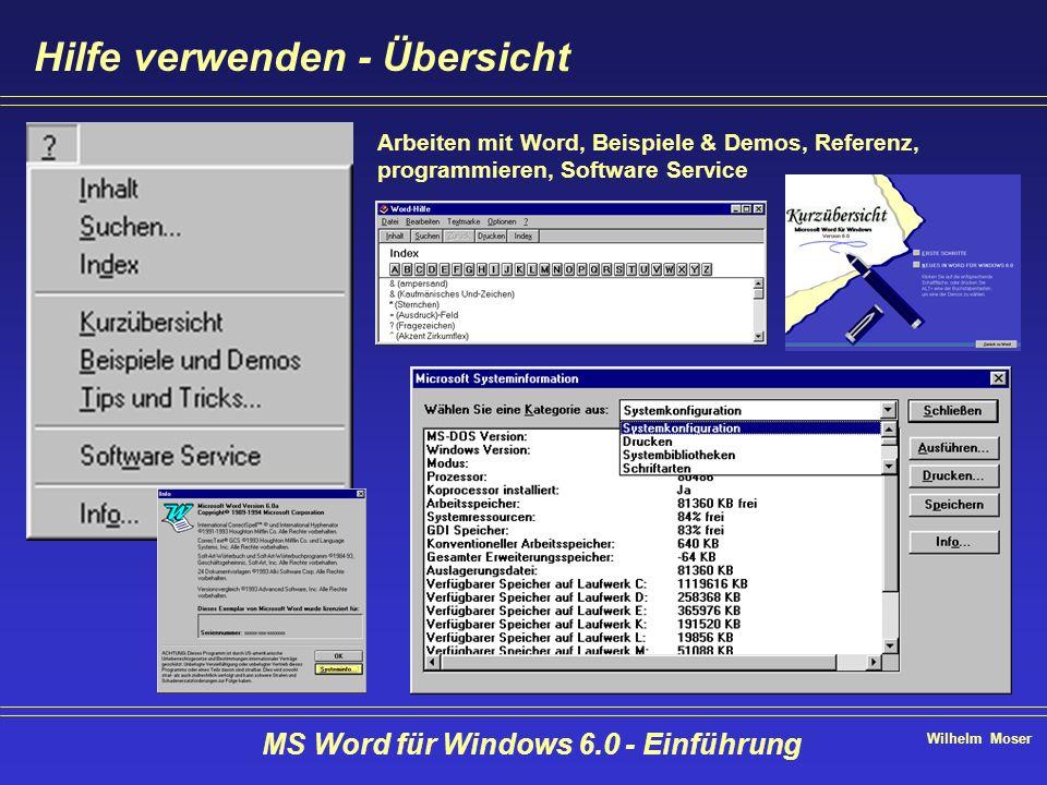 Wilhelm Moser MS Word für Windows 6.0 - Einführung Hilfe verwenden - Übersicht Arbeiten mit Word, Beispiele & Demos, Referenz, programmieren, Software