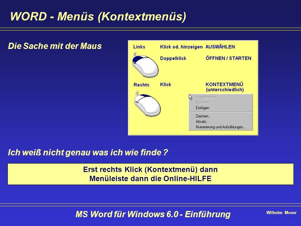 Wilhelm Moser MS Word für Windows 6.0 - Einführung Text bearbeiten - ersetzen Menü bearbeiten - ersetzen oder + Mit Ersetzen gelangen Sie zu jedem einzelnen Begriff > Alle ersetzen Sonstiges & Format je nach selektiertem Eingabefeld werden die Begriffe in suchen nach: oder Ersetzen durch: eingefügt Tip: Selektion mit + dem Zeichen, das mit einem UNTERSTRICH gekennzeichnet ist