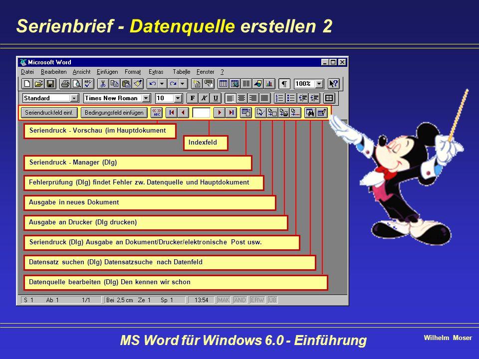 Wilhelm Moser MS Word für Windows 6.0 - Einführung Serienbrief - Datenquelle erstellen 2 Seriendruck - Vorschau (im Hauptdokument Indexfeld Seriendruc