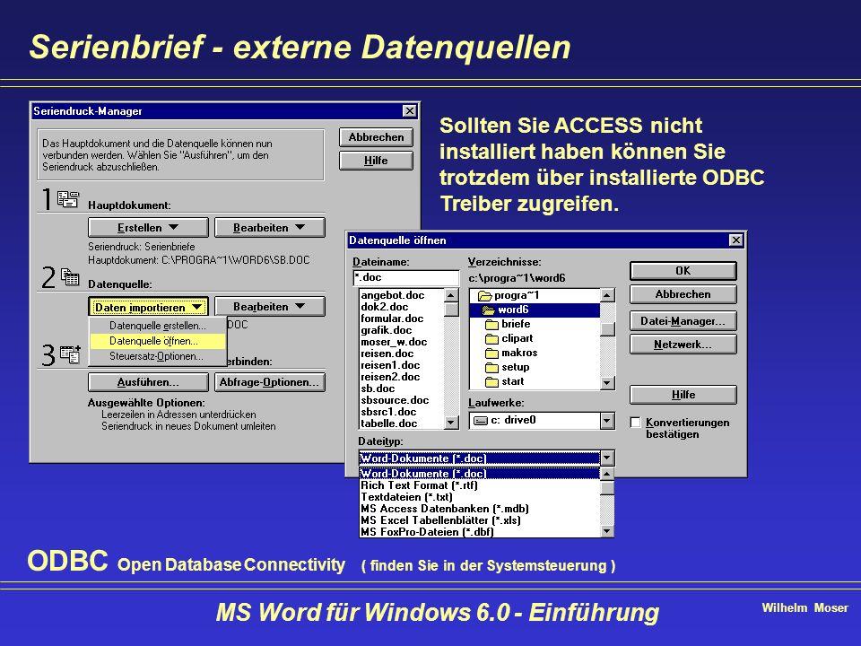 Wilhelm Moser MS Word für Windows 6.0 - Einführung Serienbrief - externe Datenquellen Sollten Sie ACCESS nicht installiert haben können Sie trotzdem ü