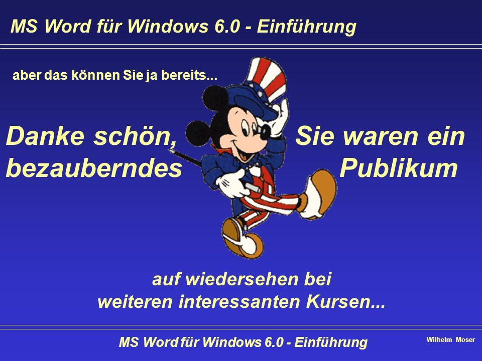 Wilhelm Moser MS Word für Windows 6.0 - Einführung aber das können Sie ja bereits... Sie waren ein Publikum Danke schön, bezauberndes auf wiedersehen