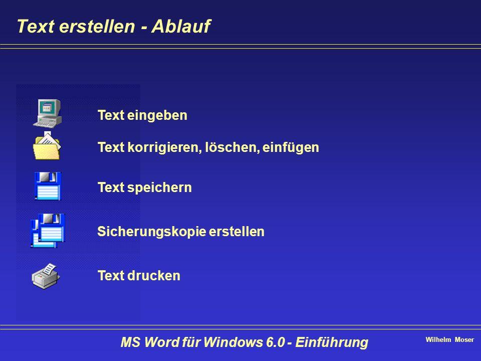 Wilhelm Moser MS Word für Windows 6.0 - Einführung Text erstellen - Ablauf Text eingeben Text korrigieren, löschen, einfügen Text speichern Sicherungs