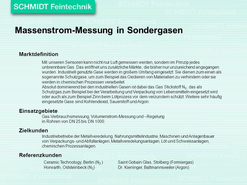 Massenstrom-Messung in Sondergasen Marktdefinition Mit unseren Sensoren kann nicht nur Luft gemessen werden, sondern im Prinzip jedes unbrennbare Gas.
