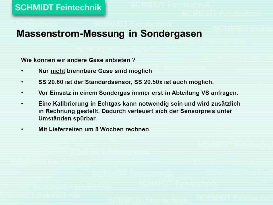 Massenstrom-Messung in Sondergasen Wie können wir andere Gase anbieten ? Nur nicht brennbare Gase sind möglich SS 20.60 ist der Standardsensor, SS 20.