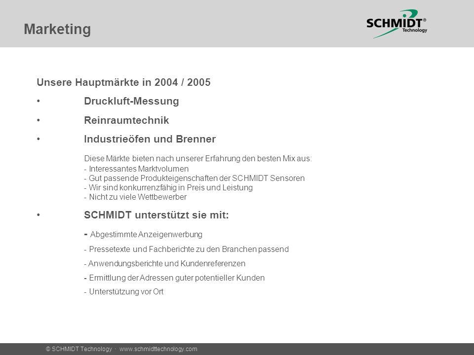 © SCHMIDT Technology · www.schmidttechnology.com Marketing Unsere Hauptmärkte in 2004 / 2005 Druckluft-Messung Reinraumtechnik Industrieöfen und Brenn