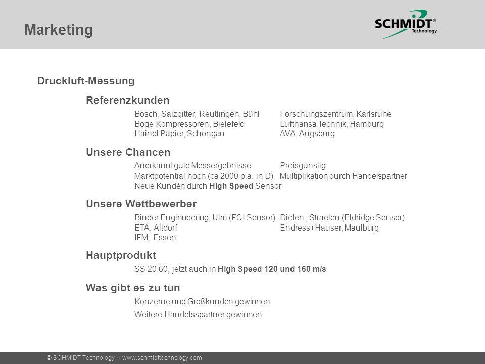 © SCHMIDT Technology · www.schmidttechnology.com Marketing Druckluft-Messung Referenzkunden Bosch, Salzgitter, Reutlingen, BühlForschungszentrum, Karlsruhe Boge Kompressoren, BielefeldLufthansa Technik, Hamburg Haindl Papier, SchongauAVA, Augsburg Unsere Chancen Anerkannt gute MessergebnissePreisgünstig Marktpotential hoch (ca 2000 p.a.