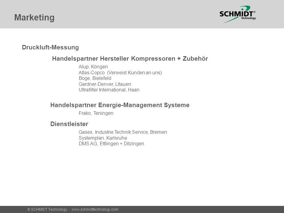 © SCHMIDT Technology · www.schmidttechnology.com Marketing Druckluft-Messung Handelspartner Hersteller Kompressoren + Zubehör Alup, Köngen Atlas-Copco