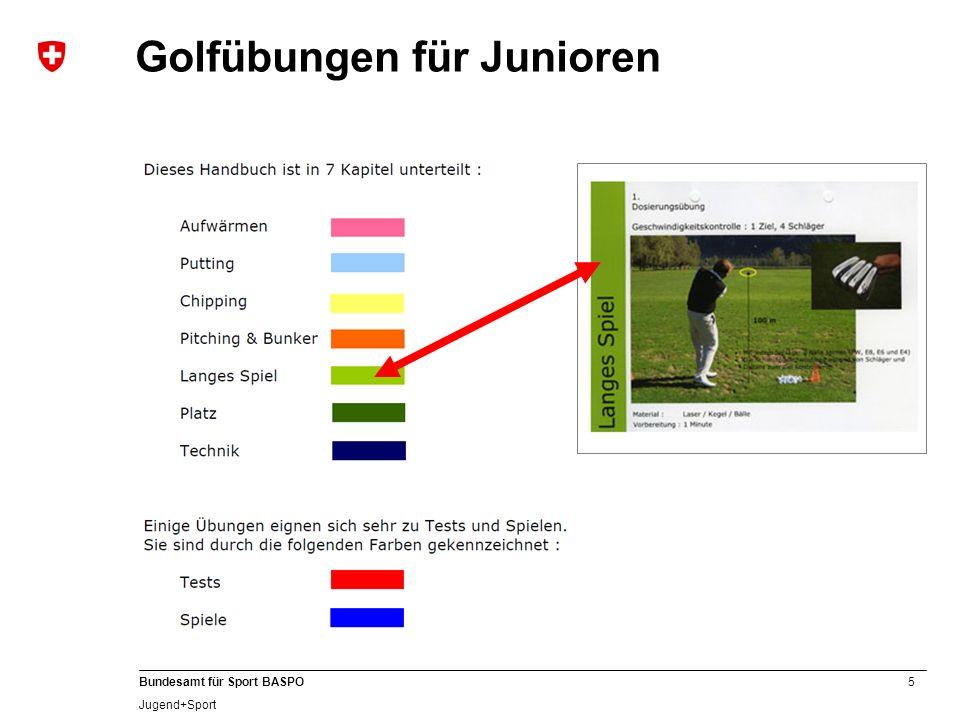 5 Bundesamt für Sport BASPO Jugend+Sport Golfübungen für Junioren