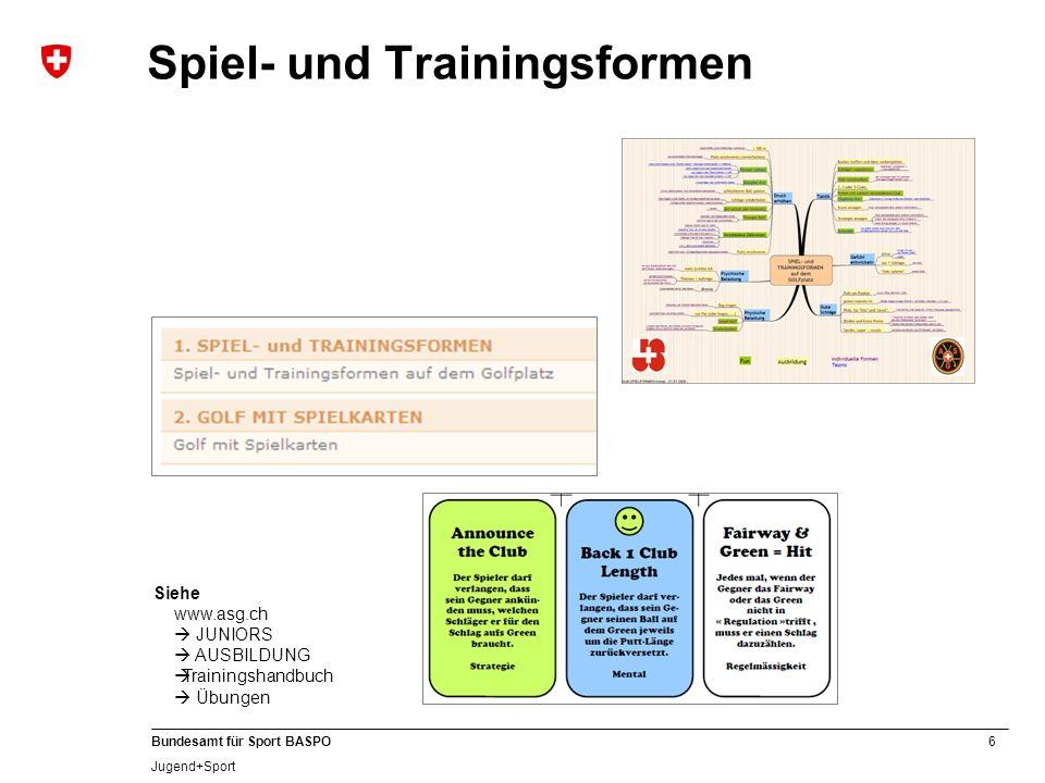6 Bundesamt für Sport BASPO Jugend+Sport Spiel- und Trainingsformen Siehe www.asg.ch JUNIORS AUSBILDUNG Trainingshandbuch Übungen