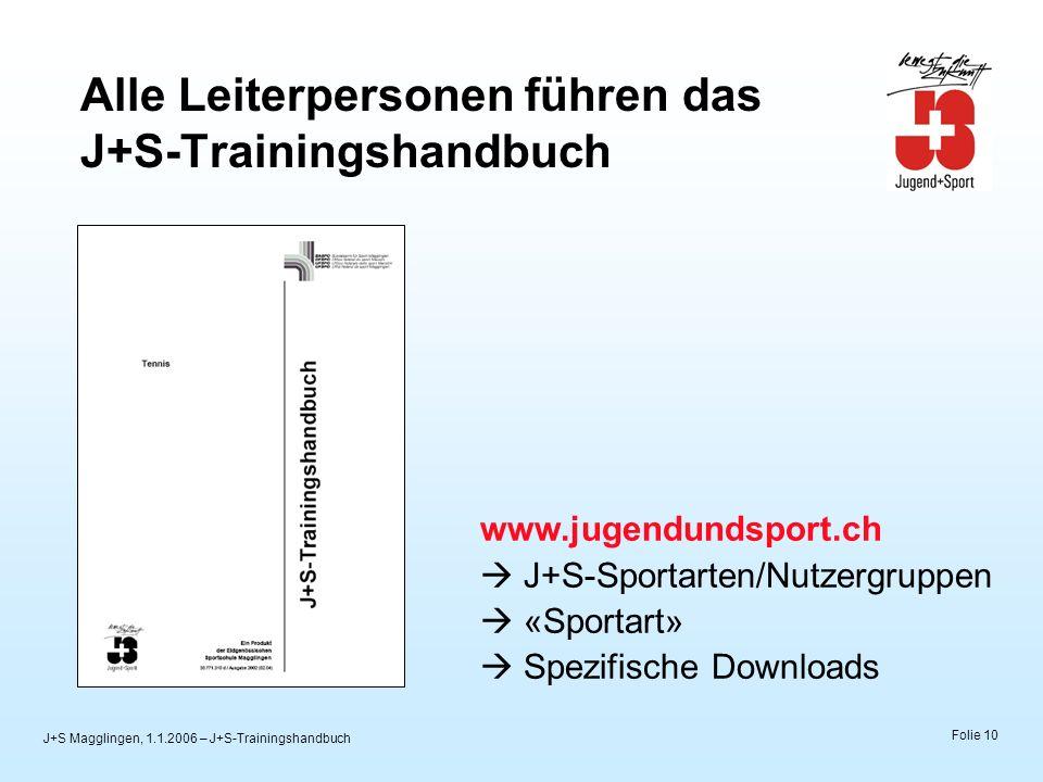 J+S Magglingen, 1.1.2006 – J+S-Trainingshandbuch Folie 10 Alle Leiterpersonen führen das J+S-Trainingshandbuch www.jugendundsport.ch J+S-Sportarten/Nu