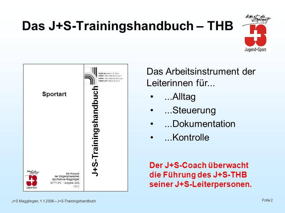 J+S Magglingen, 1.1.2006 – J+S-Trainingshandbuch Folie 2 Das J+S-Trainingshandbuch – THB BASP0 Bundesamt für Sport Magglingen OFSPO Office fédérale du