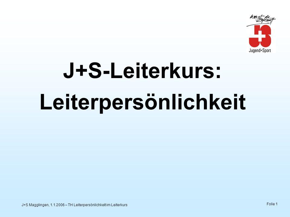J+S Magglingen, 1.1.2006 – TH Leiterpersönlichkeit im Leiterkurs Folie 2 COACH VEREIN LEITER J+S-Leiterinnen und -Leiter im J+S-Netzwerk