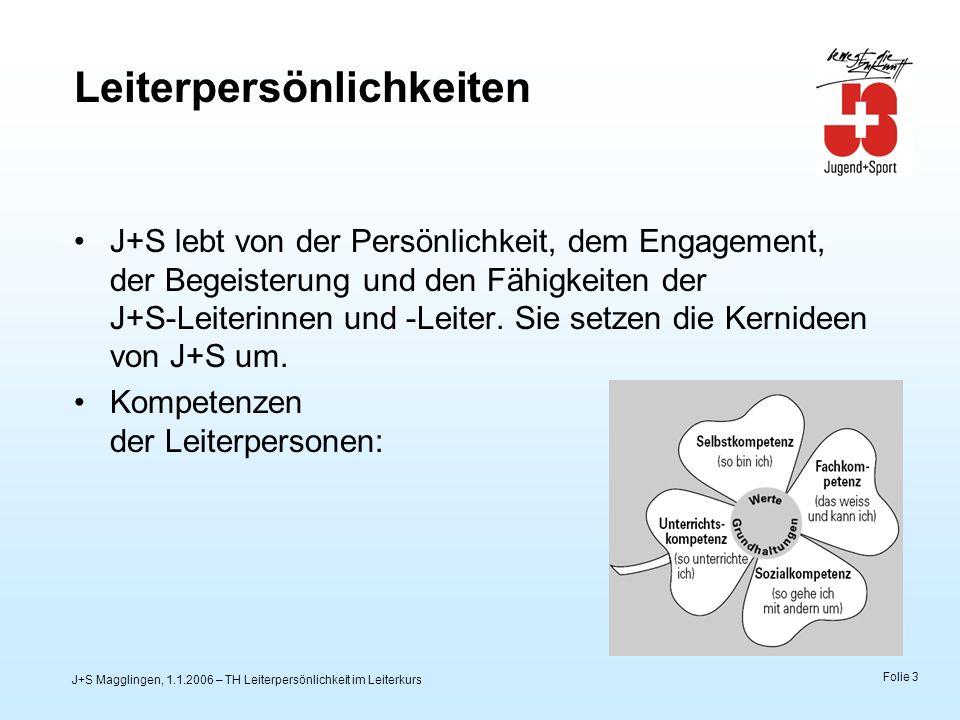 J+S Magglingen, 1.1.2006 – TH Leiterpersönlichkeit im Leiterkurs Folie 3 Leiterpersönlichkeiten J+S lebt von der Persönlichkeit, dem Engagement, der Begeisterung und den Fähigkeiten der J+S-Leiterinnen und -Leiter.