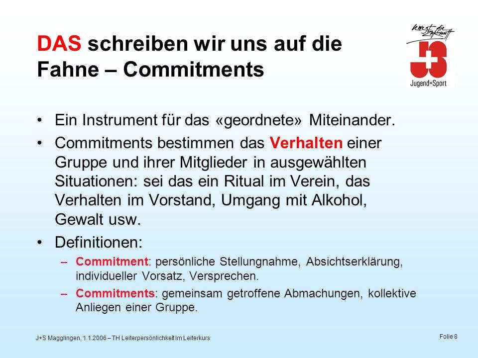 J+S Magglingen, 1.1.2006 – TH Leiterpersönlichkeit im Leiterkurs Folie 8 DAS schreiben wir uns auf die Fahne – Commitments Ein Instrument für das «geo