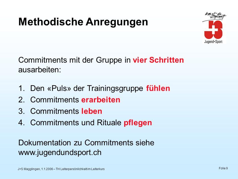 J+S Magglingen, 1.1.2006 – TH Leiterpersönlichkeit im Leiterkurs Folie 9 Methodische Anregungen Commitments mit der Gruppe in vier Schritten ausarbeit