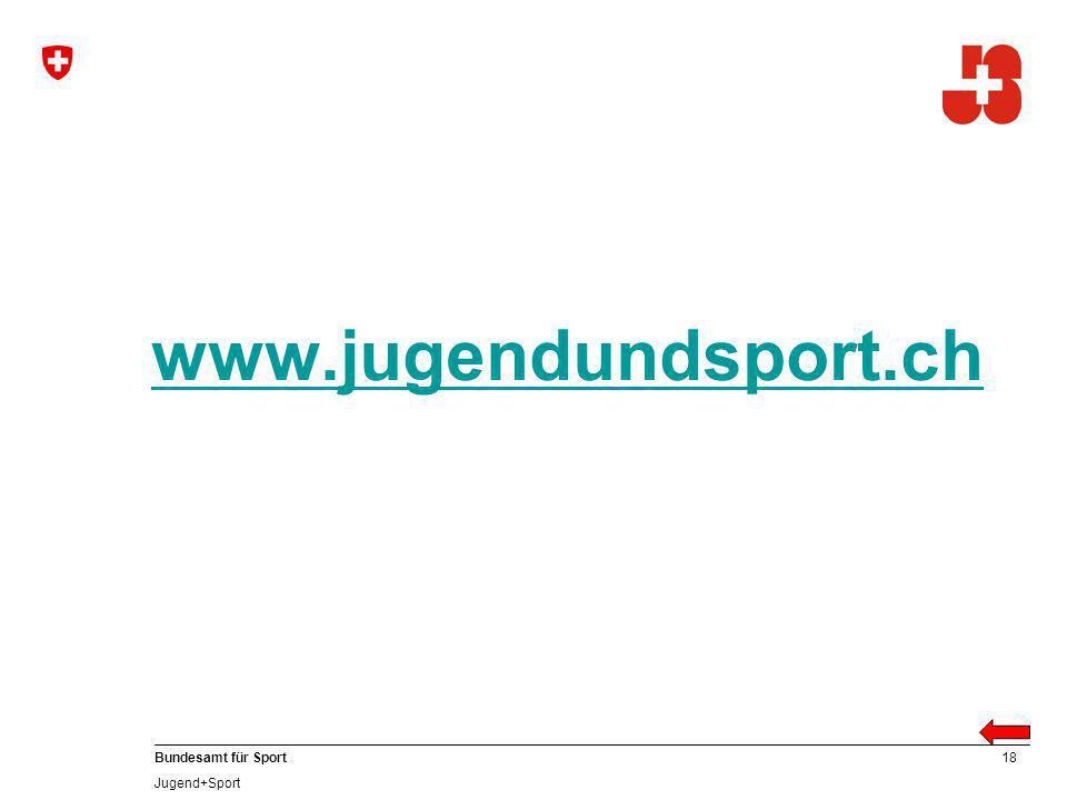 18 Bundesamt für Sport Jugend+Sport www.jugendundsport.ch
