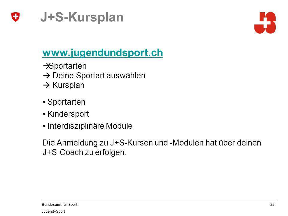 22 Bundesamt für Sport Jugend+Sport J+S-Kursplan www.jugendundsport.ch Sportarten Deine Sportart auswählen Kursplan Sportarten Kindersport Interdisziplinäre Module Die Anmeldung zu J+S-Kursen und -Modulen hat über deinen J+S-Coach zu erfolgen.