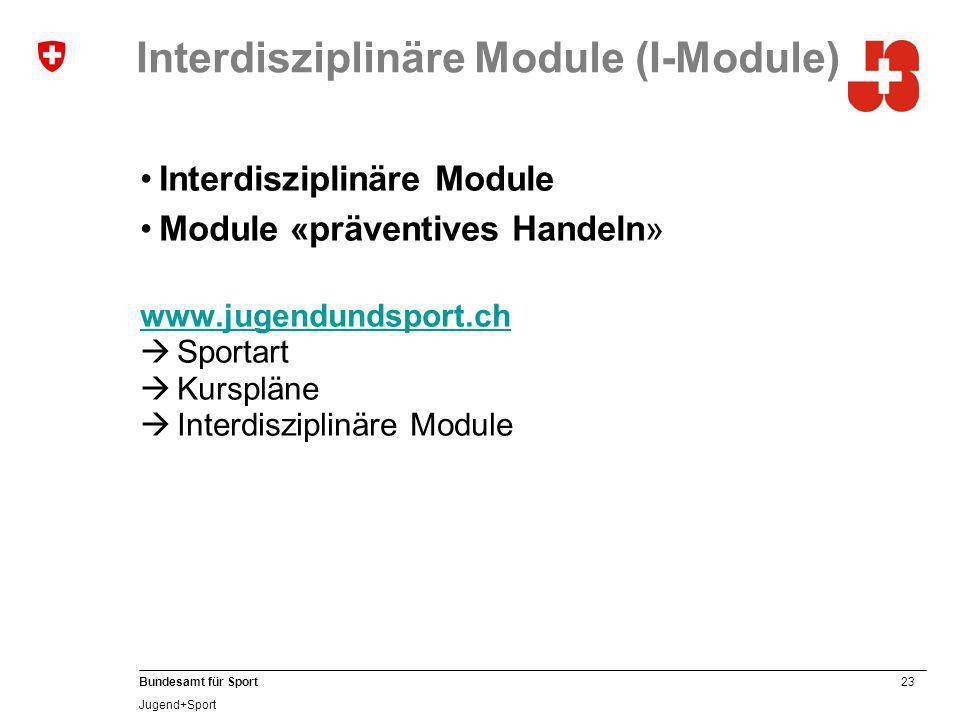 23 Bundesamt für Sport Jugend+Sport Interdisziplinäre Module (I-Module) Interdisziplinäre Module Module «präventives Handeln» www.jugendundsport.ch Sportart Kurspläne Interdisziplinäre Module