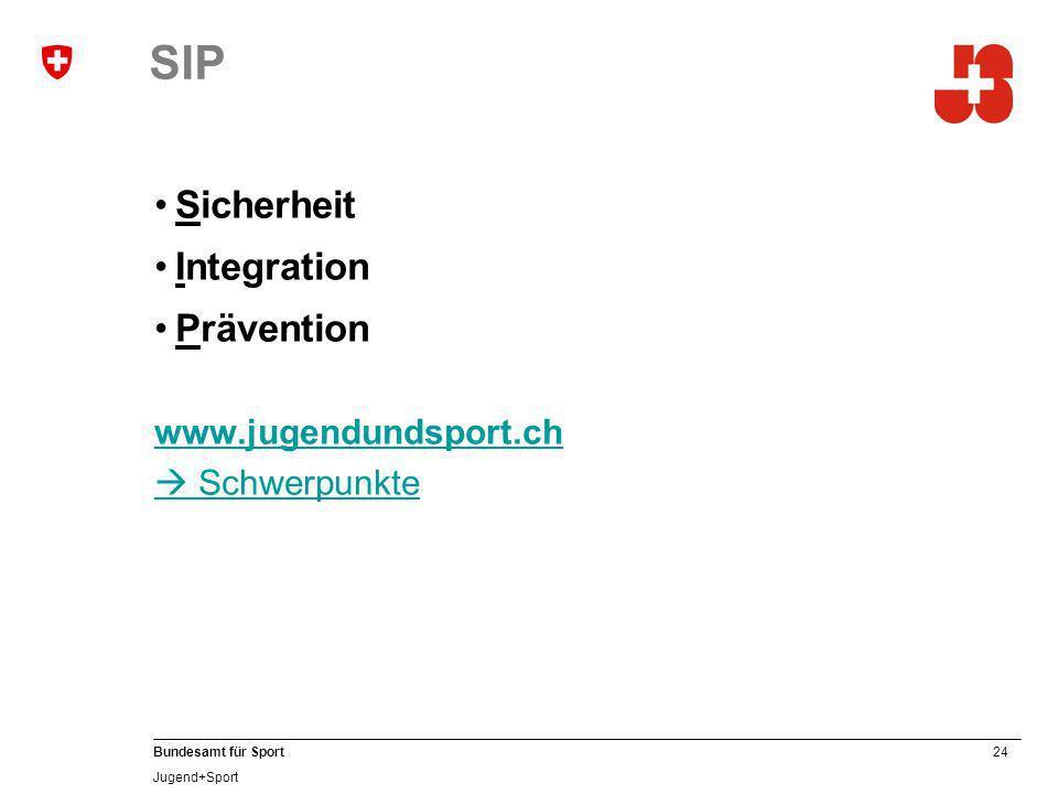 24 Bundesamt für Sport Jugend+Sport SIP Sicherheit Integration Prävention www.jugendundsport.ch Schwerpunkte